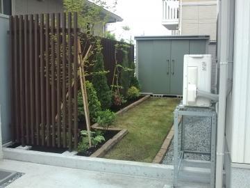 タカショー千本格子のある八戸M様邸ガーデンリフォーム 完成です。